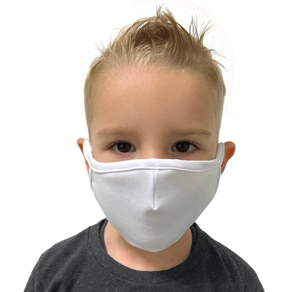 Máscara de Tecido Reutilizável e Lavável Branca Infantil - Protector 1