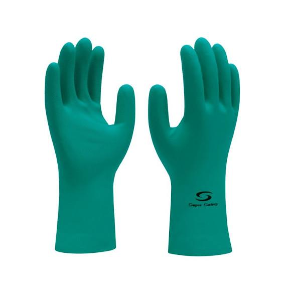Luva Nitrílica Verde Nitrogreen Super Safety 1
